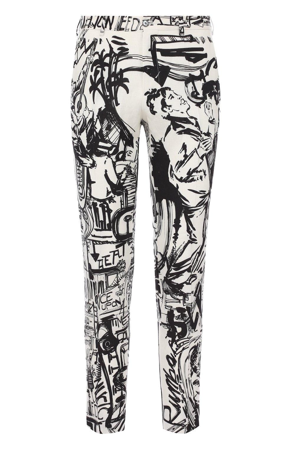 Льняные брюки прямого кроя с принтом | Фото №1