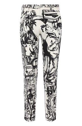Льняные брюки прямого кроя с принтом Dolce & Gabbana черные | Фото №1