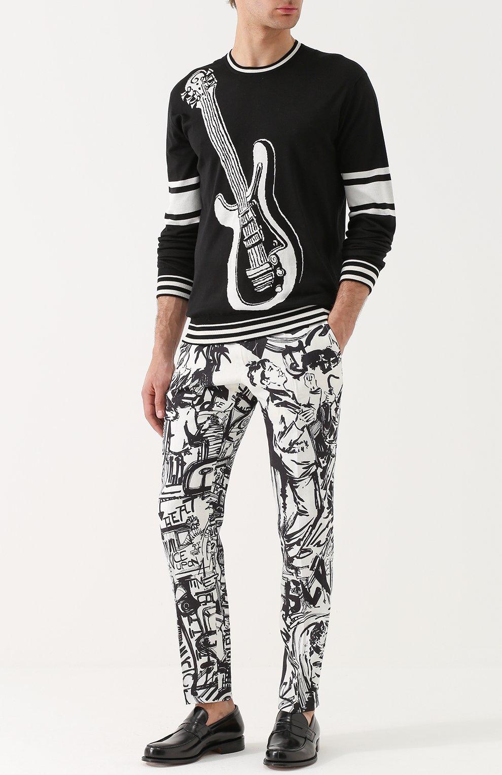 Льняные брюки прямого кроя с принтом Dolce & Gabbana черные | Фото №2