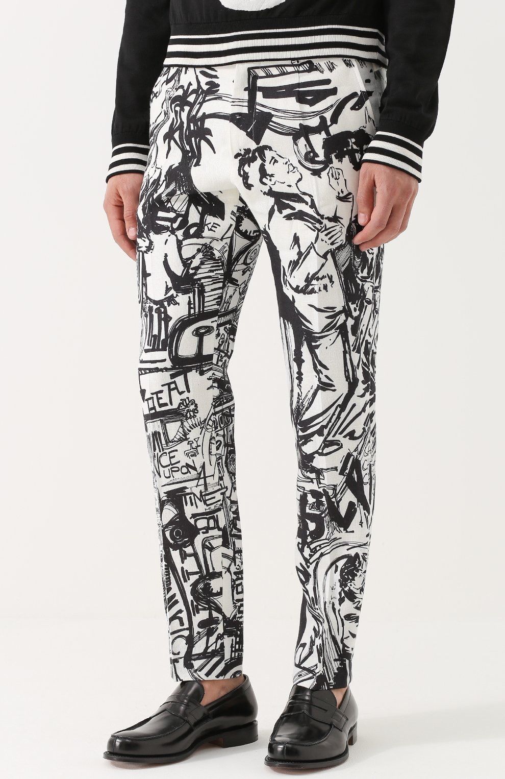 Льняные брюки прямого кроя с принтом Dolce & Gabbana черные | Фото №3