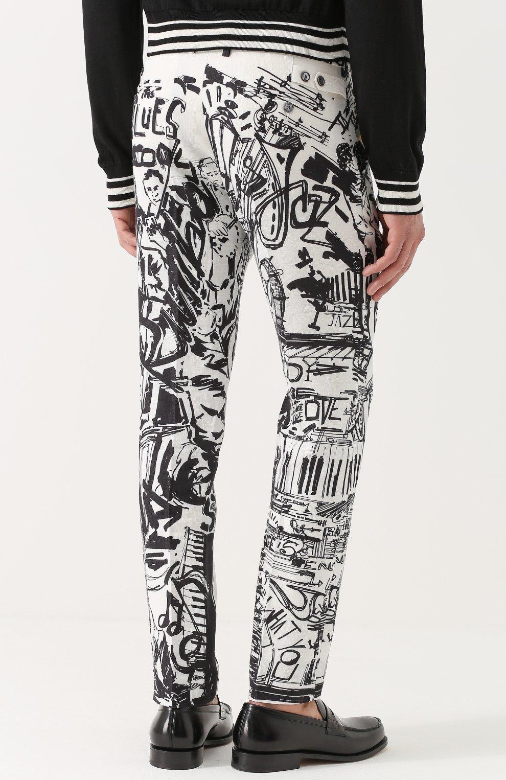 Льняные брюки прямого кроя с принтом Dolce & Gabbana черные | Фото №4