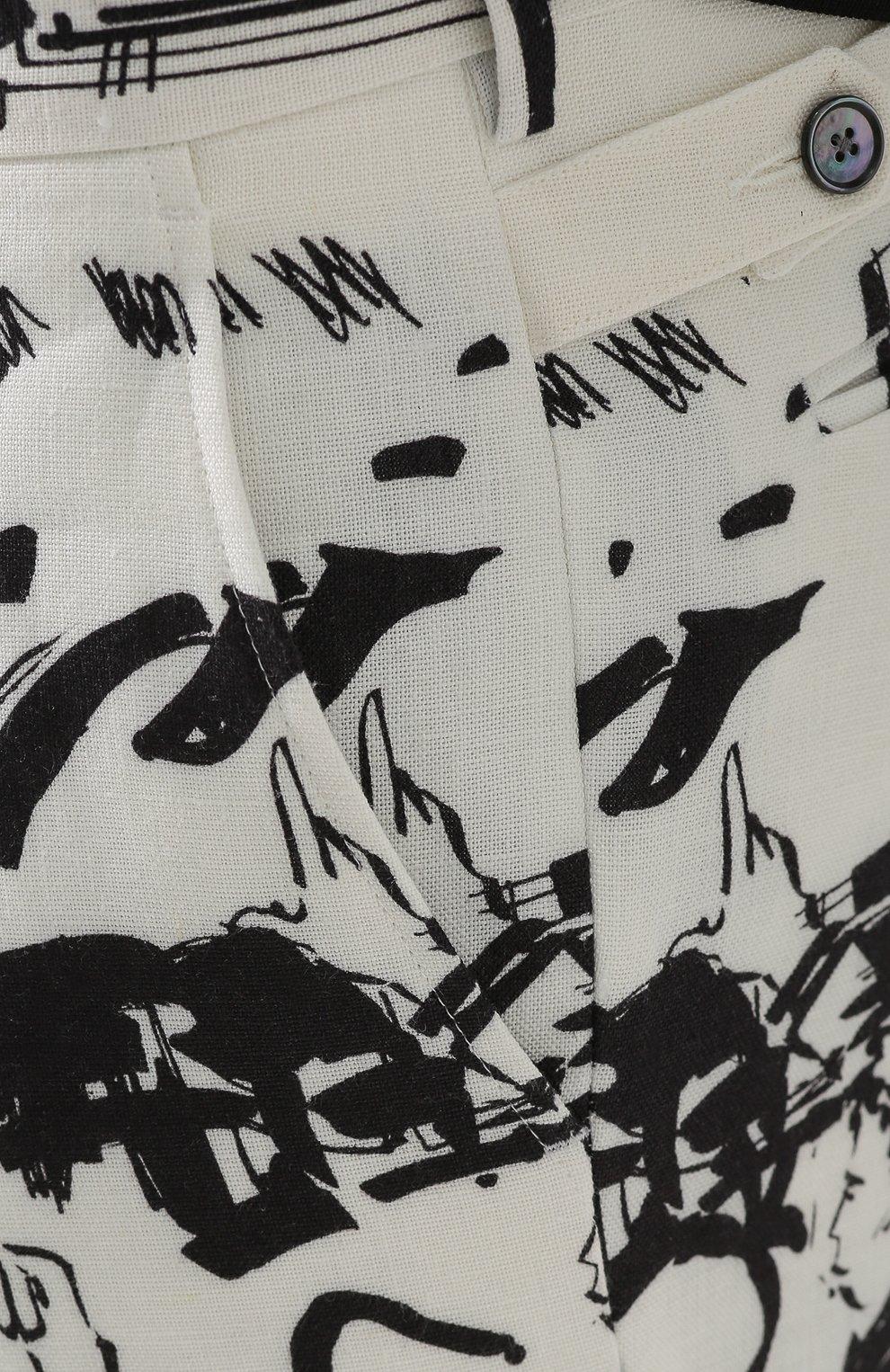 Льняные брюки прямого кроя с принтом Dolce & Gabbana черные | Фото №5