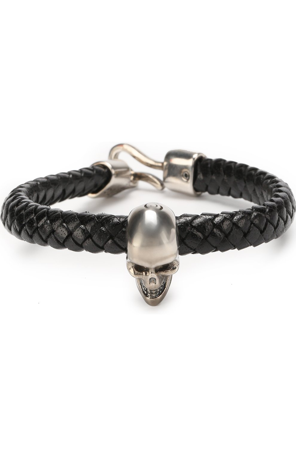 Плетеный кожаный браслет с черепом   Фото №1