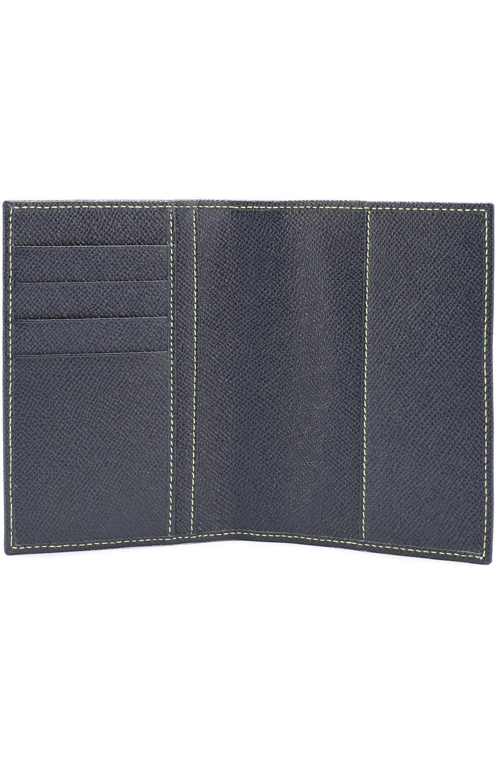Кожаная обложка для паспорта Dolce & Gabbana темно-синего цвета | Фото №3