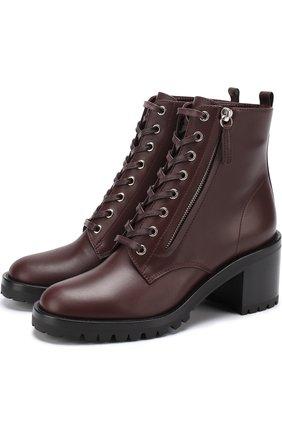 Кожаные ботинки Croft на шнуровке и с молнией | Фото №1