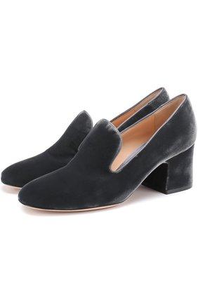 Бархатные туфли на устойчивом каблуке | Фото №1