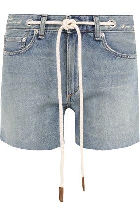Джинсовые мини-шорты с контрастным поясом | Фото №1