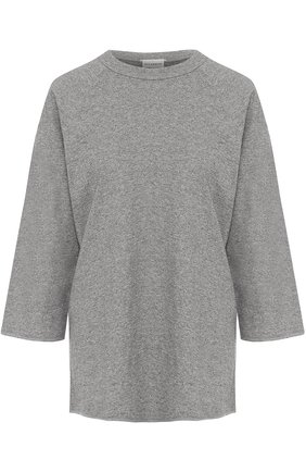 Хлопковая футболка прямого кроя с удлиненным рукавом   Фото №1