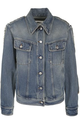 Джинсовая куртка прямого кроя с потертостями | Фото №1