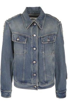 Джинсовая куртка прямого кроя с потертостями Mm6 синяя   Фото №1