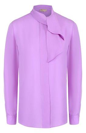 Шелковая блуза прямого кроя с воротником аскот | Фото №1