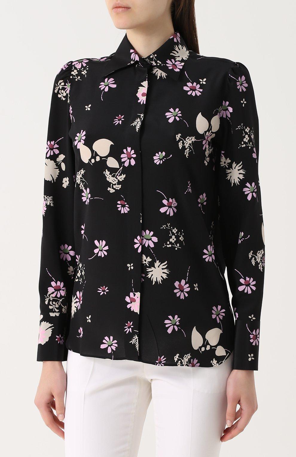 Шелковая блуза с цветочным принтом | Фото №3