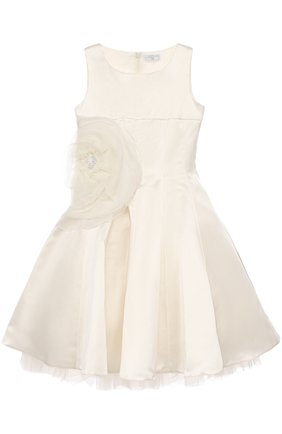Детское приталенное платье-миди с пышной юбкой и аппликацией в виде розы MONNALISA белого цвета, арт. 779945   Фото 1