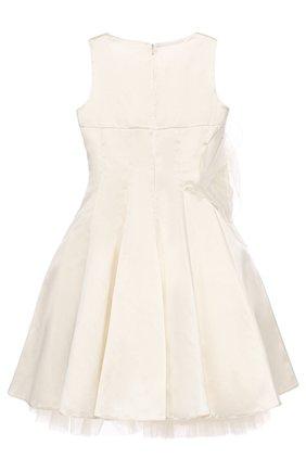 Детское приталенное платье-миди с пышной юбкой и аппликацией в виде розы MONNALISA белого цвета, арт. 779945   Фото 2