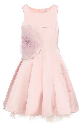 Приталенное платье-миди с пышной юбкой и аппликацией в виде розы | Фото №1