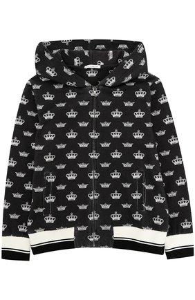 Детский спортивный кардиган с принтом и капюшоном Dolce & Gabbana черно-белого цвета | Фото №1
