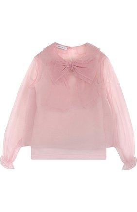 Полупрозрачная блуза с бантом и оборками | Фото №1