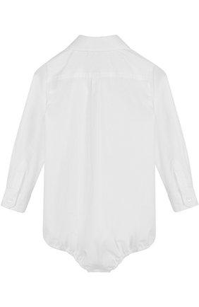 Детское хлопковое боди с плиссированной вставкой DOLCE & GABBANA белого цвета, арт. 0131/L11035/FUEAJ | Фото 2