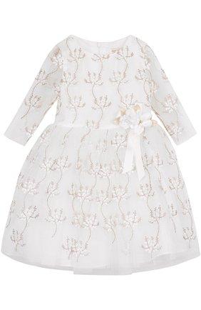 Мини-платье с металлизированной вышивкой и декором | Фото №1