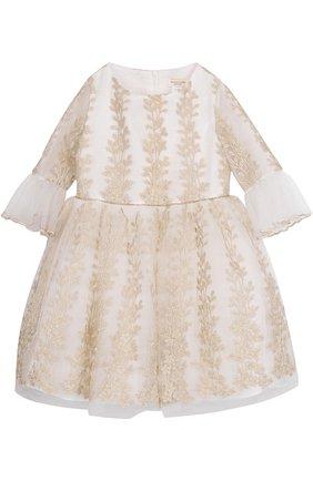 Платье-миди с металлизированной вышивкой и оборками | Фото №1