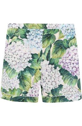 Детские хлопковые мини-шорты с цветочным принтом Dolce & Gabbana зеленого цвета | Фото №1