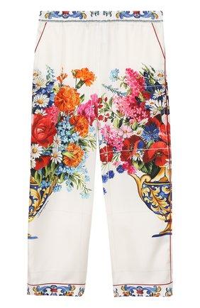 Детские шелковые брюки в пижамном стиле с принтом Dolce & Gabbana разноцветного цвета   Фото №1