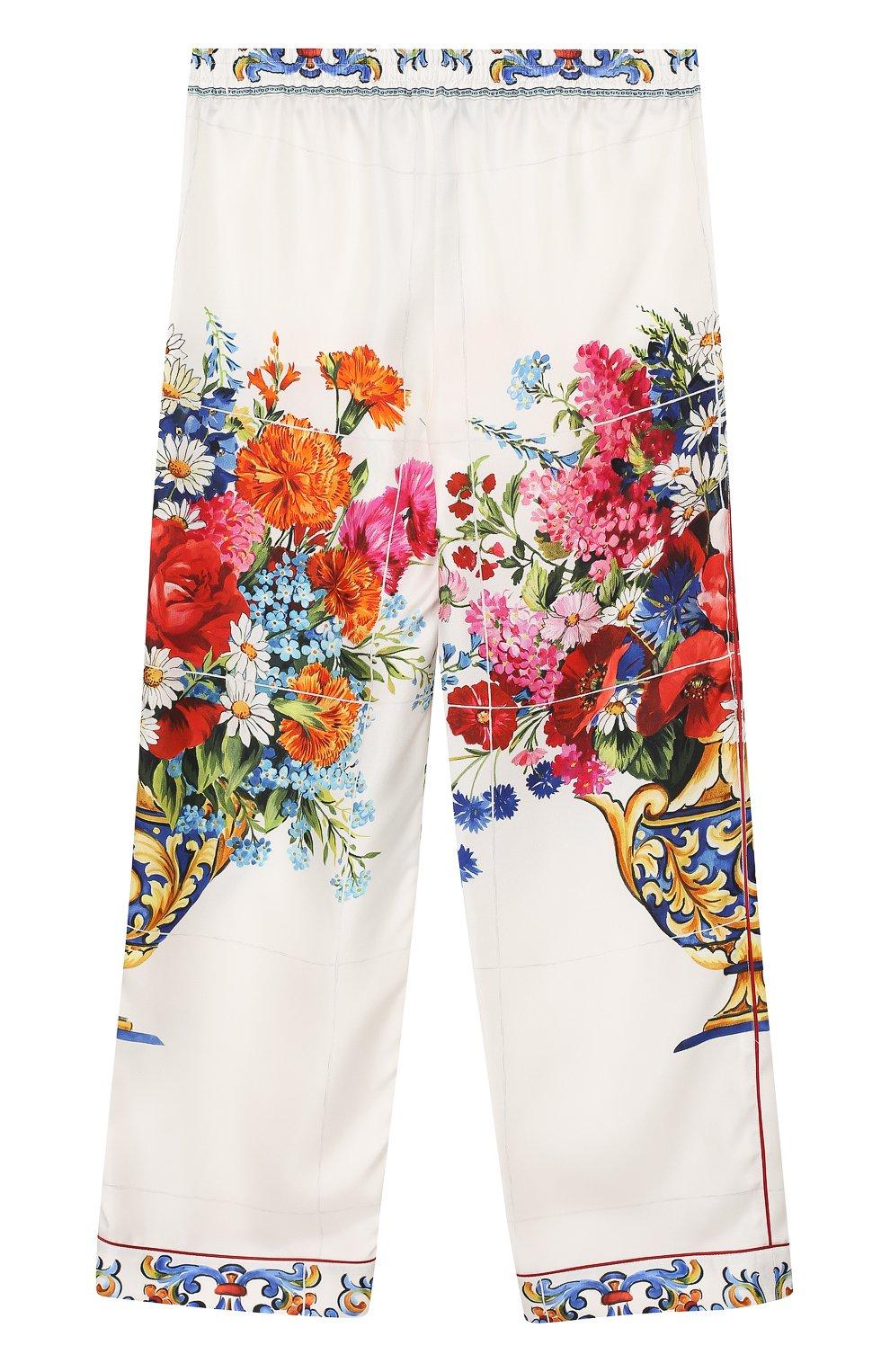 Детские шелковые брюки в пижамном стиле с принтом Dolce & Gabbana разноцветного цвета   Фото №2