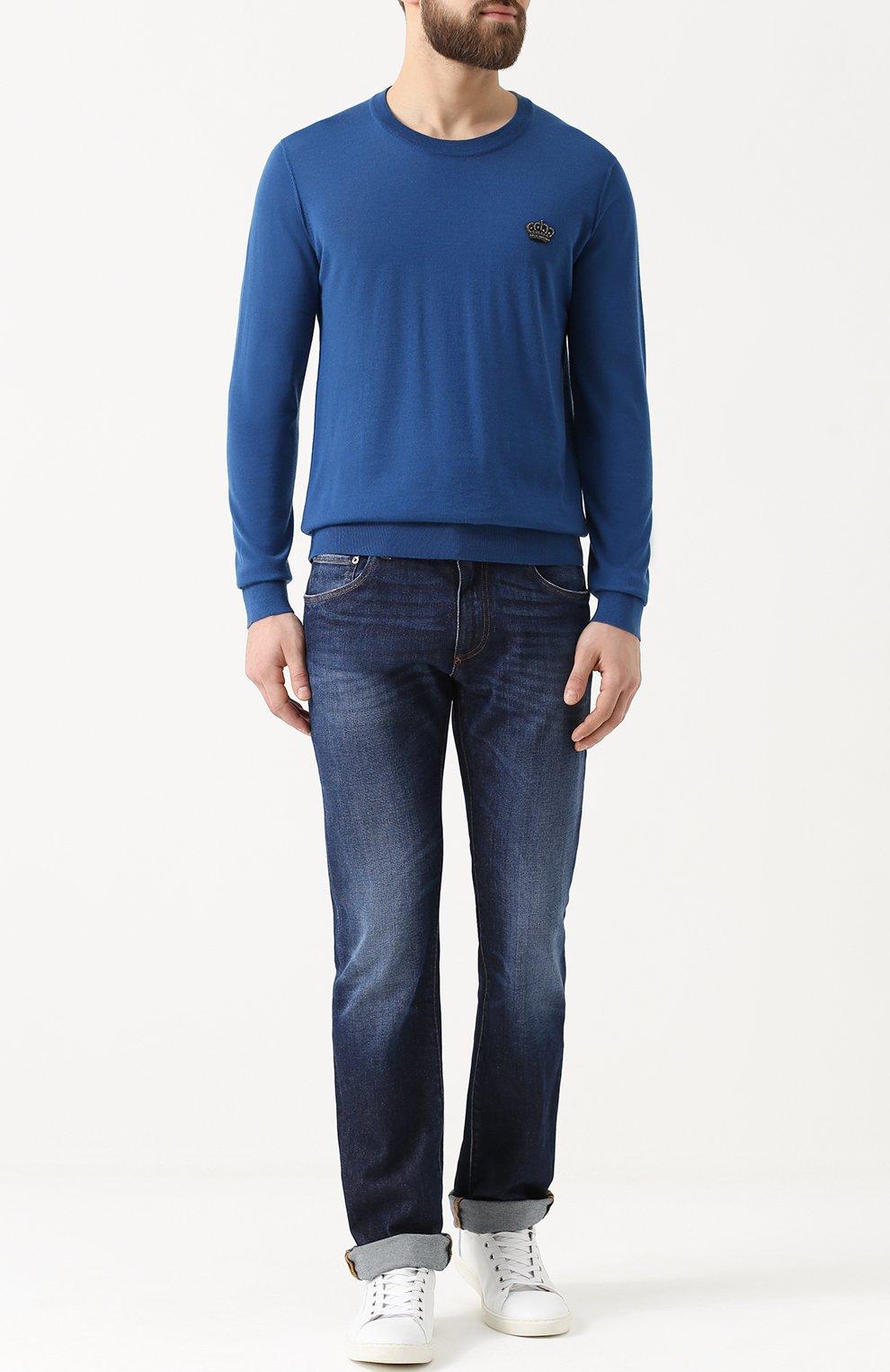 Кашемировый джемпер тонкой вязки с вышивкой на груди Dolce & Gabbana бирюзовый   Фото №2