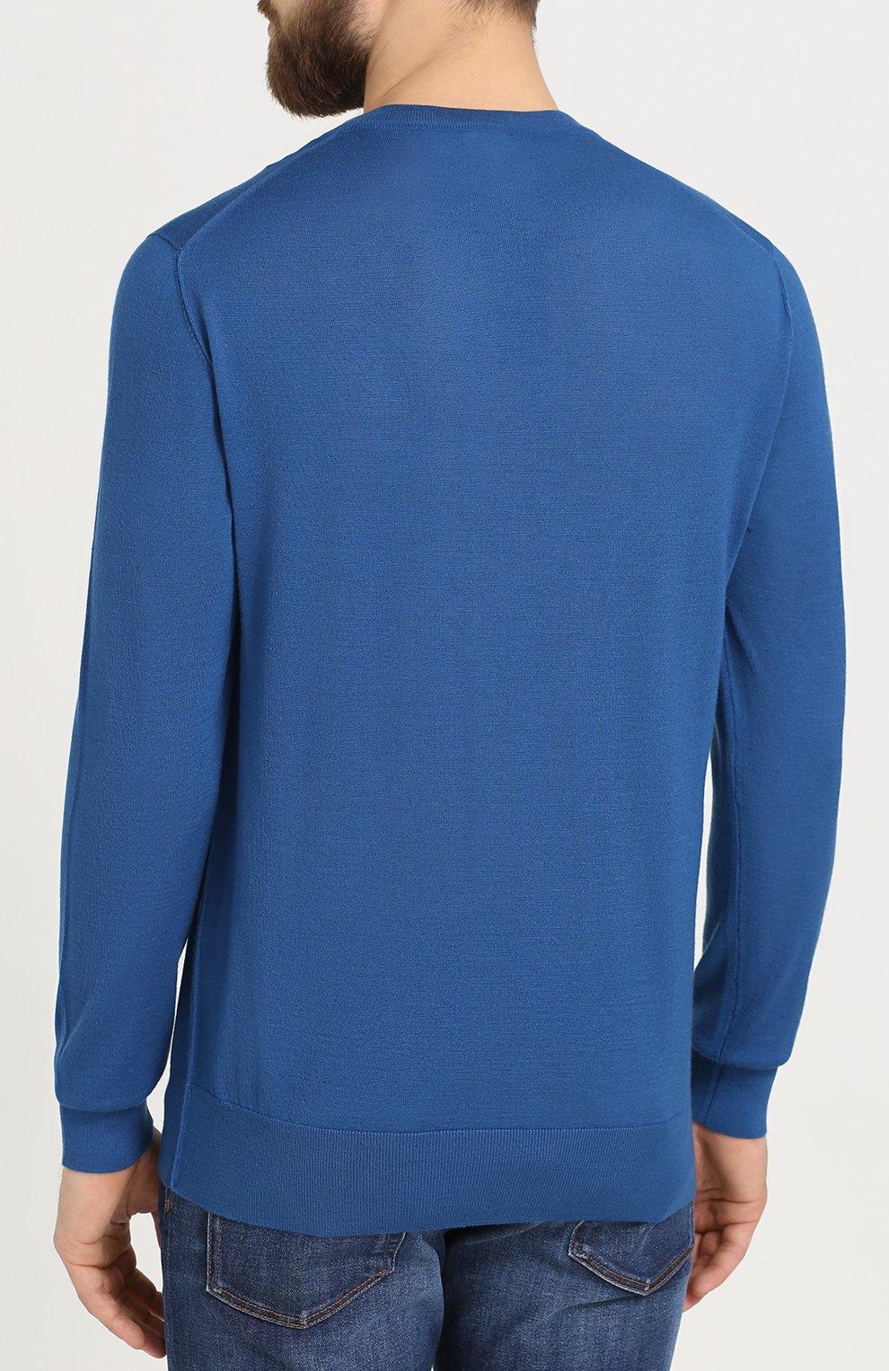 Кашемировый джемпер тонкой вязки с вышивкой на груди Dolce & Gabbana бирюзовый   Фото №4