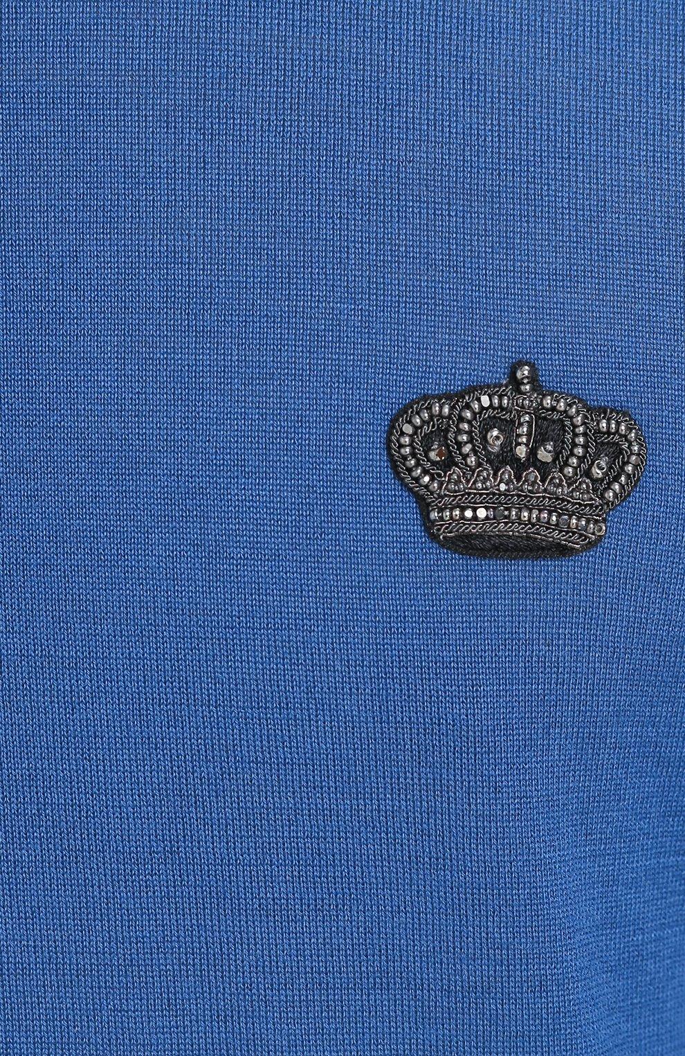Кашемировый джемпер тонкой вязки с вышивкой на груди Dolce & Gabbana бирюзовый   Фото №5