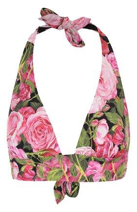Треугольный бра с цветочным принтом Dolce & Gabbana розовый | Фото №1