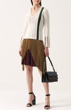 Шелковая плиссированная юбка в полоску Marco de Vincenzo разноцветная | Фото №1