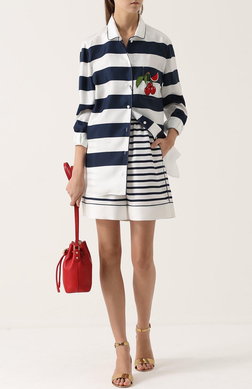 Шелковые мини-шорты в полоску Dolce & Gabbana синие | Фото №2