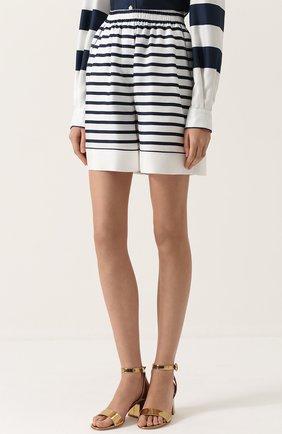 Шелковые мини-шорты в полоску Dolce & Gabbana синие | Фото №3