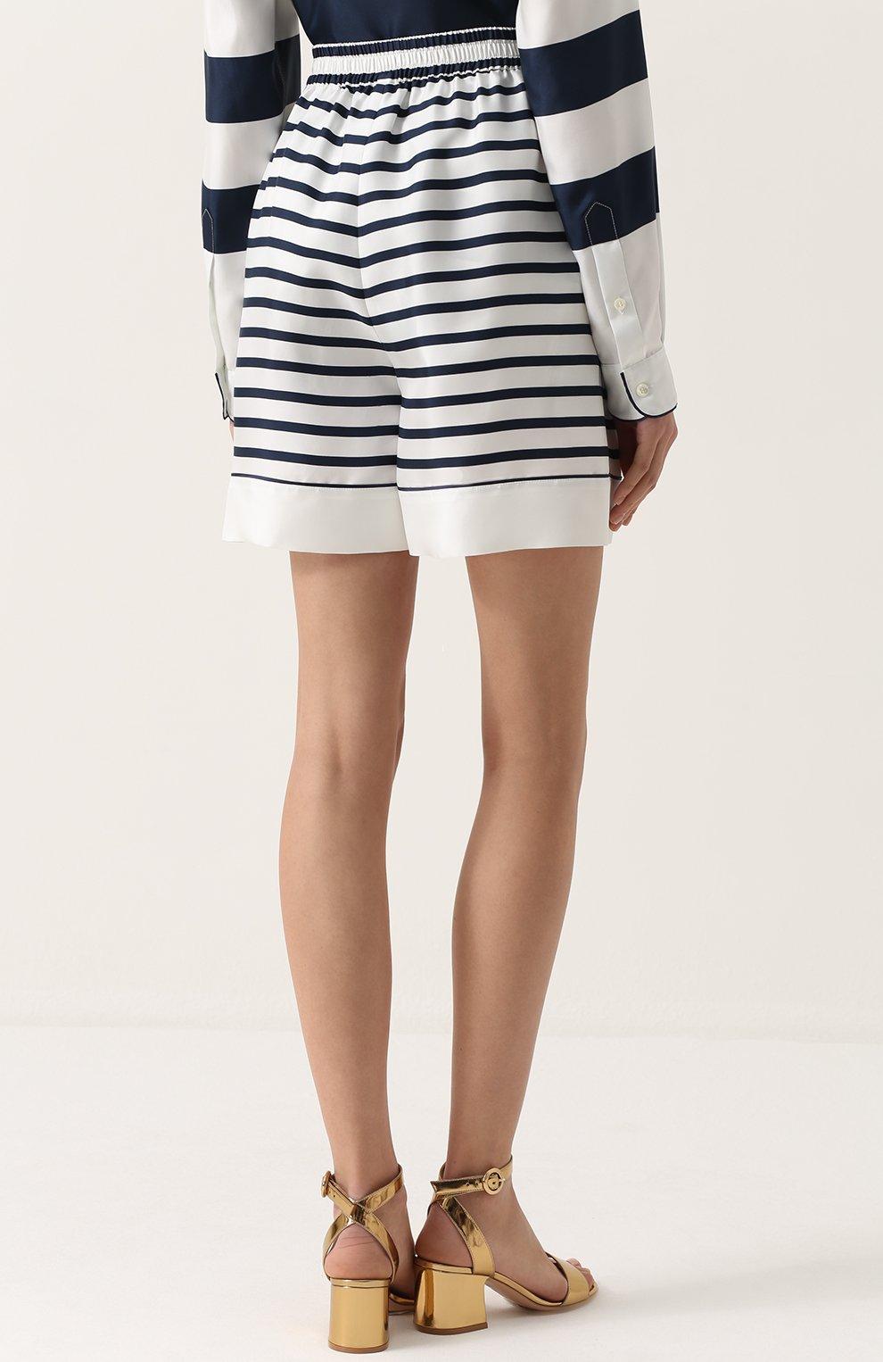 Шелковые мини-шорты в полоску Dolce & Gabbana синие | Фото №4