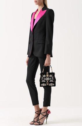 Приталенный жакет с остроконечными контрастными лацканами Dolce & Gabbana черный | Фото №2