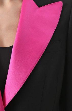 Приталенный жакет с остроконечными контрастными лацканами Dolce & Gabbana черный | Фото №5