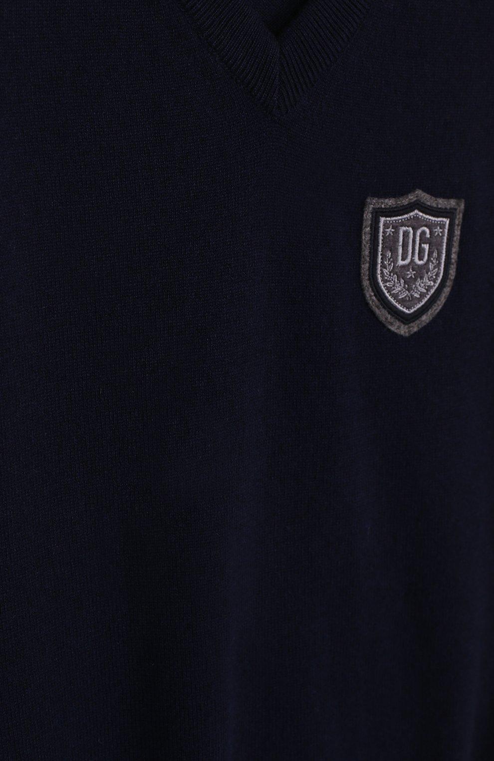 Детский кашемировый жилет с нашивкой Dolce & Gabbana темно-синего цвета | Фото №3