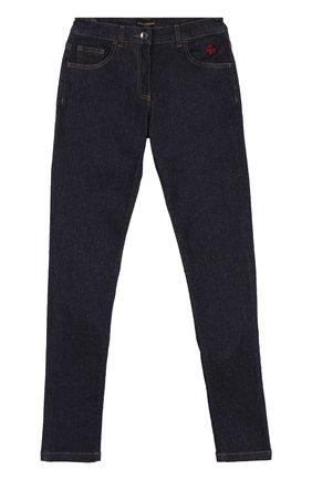 Детские джинсы прямого кроя с аппликациями и эластичной вставкой на поясе Dolce & Gabbana темно-синего цвета | Фото №1