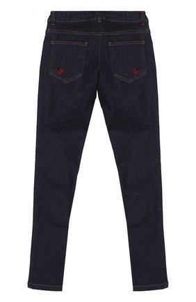 Детские джинсы прямого кроя с аппликациями и эластичной вставкой на поясе Dolce & Gabbana темно-синего цвета | Фото №2