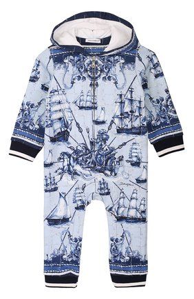 Хлопковый комбинезон с принтом и эластичными манжетами Dolce & Gabbana голубого цвета | Фото №1