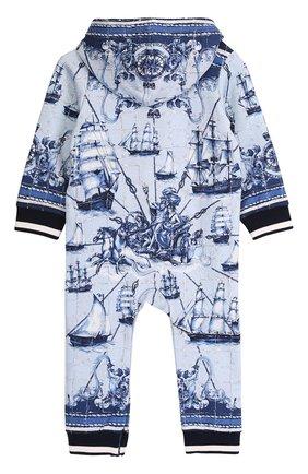 Хлопковый комбинезон с принтом и эластичными манжетами Dolce & Gabbana голубого цвета | Фото №2
