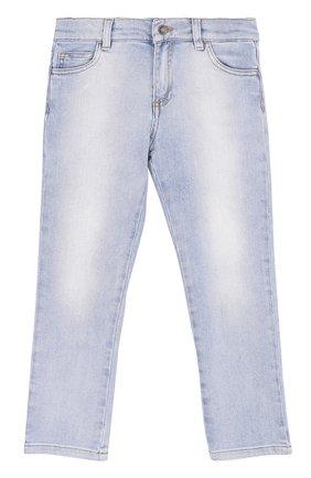 Детские джинсы прямого кроя с принтом и декоративными потертостями Dolce & Gabbana светло-голубого цвета | Фото №1