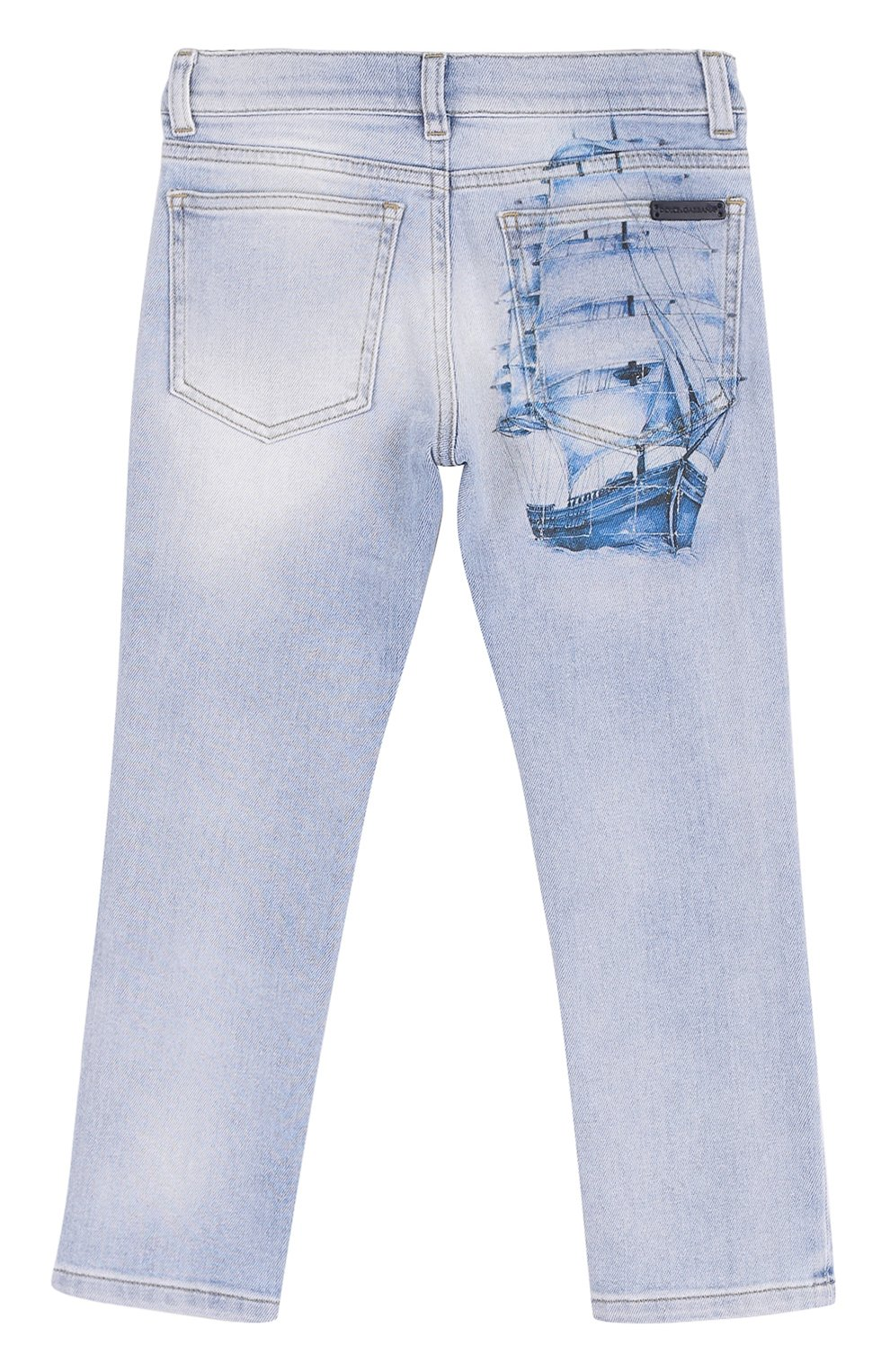 Детские джинсы прямого кроя с принтом и декоративными потертостями Dolce & Gabbana светло-голубого цвета | Фото №2