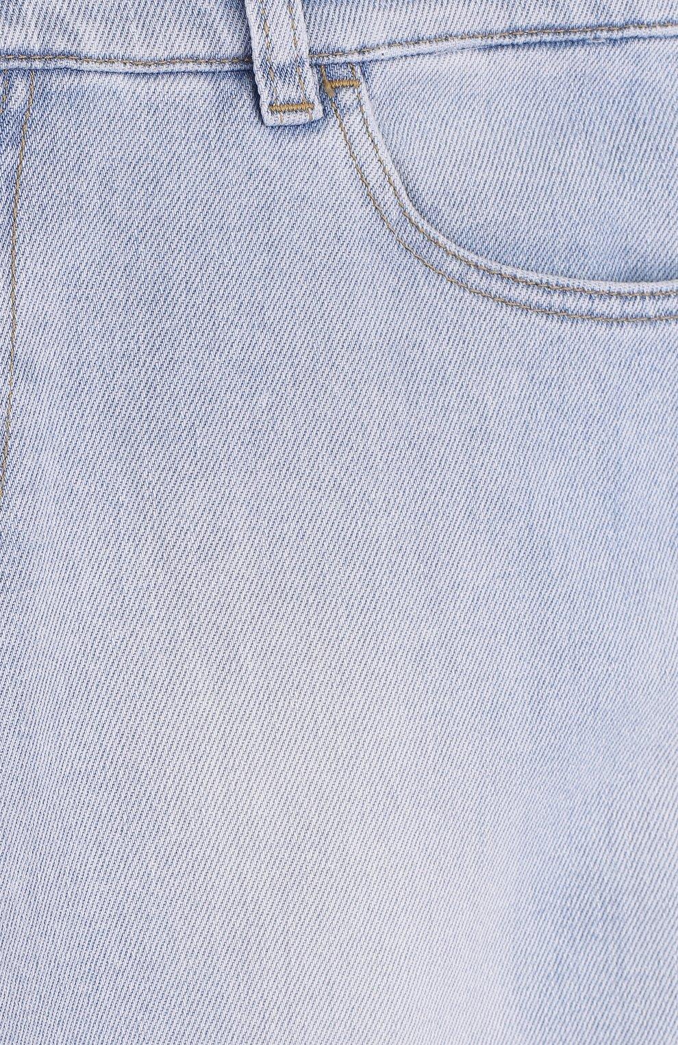 Детские джинсы прямого кроя с принтом и декоративными потертостями Dolce & Gabbana светло-голубого цвета | Фото №3