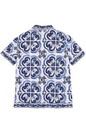 Детская хлопковая рубашка в пижамном стиле с принтом Dolce & Gabbana голубого цвета | Фото №2