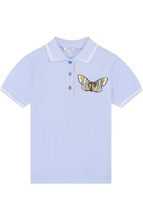 Детское хлопковое поло с аппликацией Dolce & Gabbana голубого цвета   Фото №1
