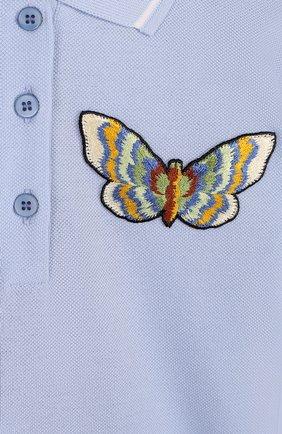 Детское хлопковое поло с аппликацией Dolce & Gabbana голубого цвета   Фото №3