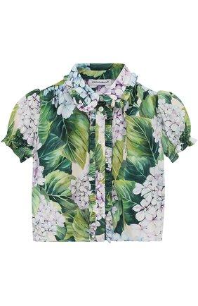 Хлопковая блуза с цветочным принтом и оборками | Фото №1