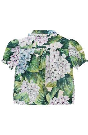 Хлопковая блуза с цветочным принтом и оборками | Фото №2
